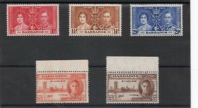Barbados GV1 1937&46 Coronation & Victory sets VLH.Mint
