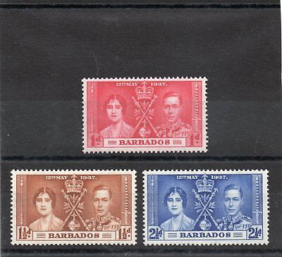 Barbados GV1 1937 Coronation  set sg 245-47 H.Mint