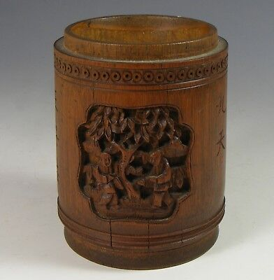 Antique Chinese Carved Bamboo Pot - Calligraphy