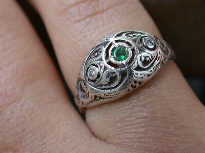 ANTIQUE ART DECO NOUVEAU 18K GOLD GENUINE DIAMONDS EMERALD RING nr combine shipp