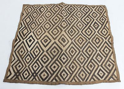 """African Tribal 22""""x25"""" Fine Antique Traditional Kuba Textile Fabric Cloth"""