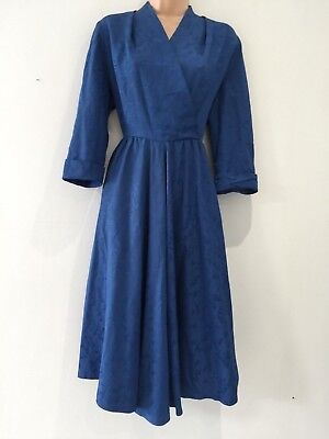 Vintage Original 50's Blue Floral Rayon Mock Wrap Swing Style Dress Size 14-16