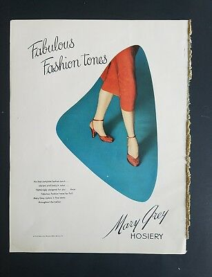 1953 women's Mary Grey Hosiery stockings nylons fashion tones legs ad