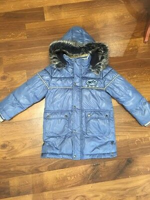 Pumpkin Patch Puffa Down Feather Boys Winter Jacket Coat In Blue 4 Years Vgc