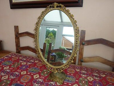 Large Ornate Brass Standing Swivel Vanity Mirror Rococo Victorian