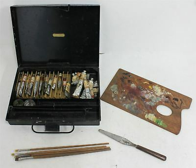 GEORGE ROWNEY & CO Vintage Early 20th Century Artist Paint Box w Supplies