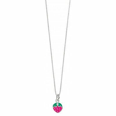 Girls - Silver D For Diamond Strawberry Pendant Necklace