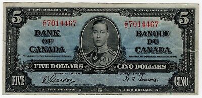 1937 Bank Of Canada Five 5 Dollar Bank Note Cc 7014467 Nice Bill