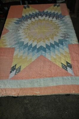 "LONE STAR  76""  X 64"" vintage MULTI COL  QUILT twin- FULL chic retro HANDCRAFTED"