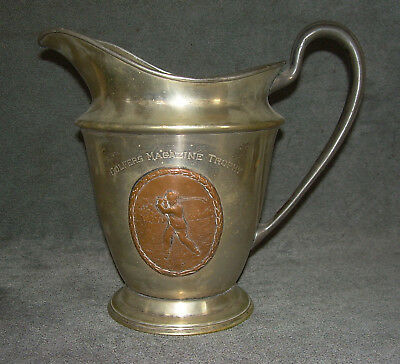 Antique GOLFERS MAGAZINE TROPHY Old Golf EPNS Silverplate Beer Pitcher