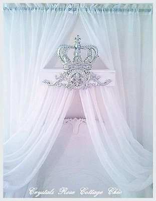 Silver & White Bed Crown Canopy Teester / Princess / Prince Dessert Party Decor