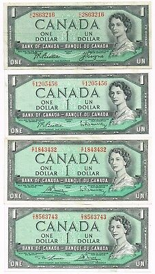 LOT OF FOUR 1954 (1955-75) CANADA ONE DOLLAR NOTES - p75a,b,c,d