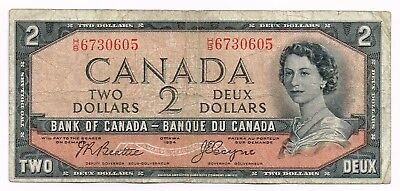 1954 CANADA TWO DOLLARS NOTE 'DEVIL'S FACE' - p67b