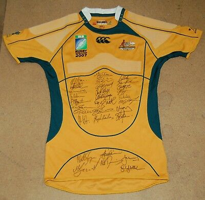 Australia Wallabies 2007 Rugby Union World Cup Team Hand Signed Official Jersey