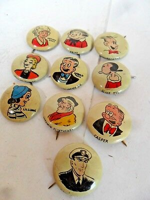 Set of 10 Really Cute Vintage 1940's Kellogg's PEP Cartoon Pins