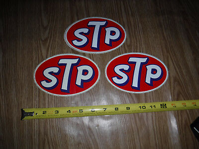 Vintage 1960's Lot Of 3 Stp Bumper Stickers Made In Usa L@@k
