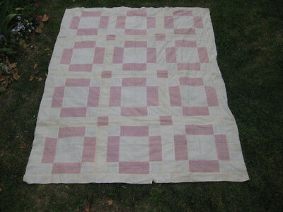 """Antique Vintage Pink Off-White Quilt Top  64""""x80"""" Sewn Pieced By Hand"""
