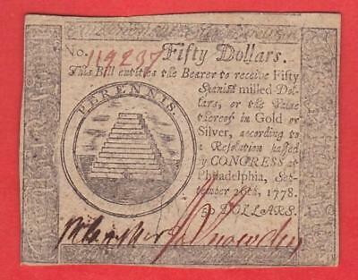 1778 50 Spanish Milled Dollars BEAUTIFUL AU+ Continental Currency