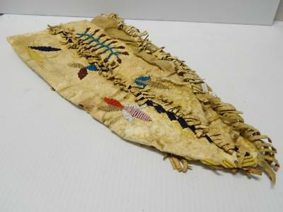 """c1880s ANTIQUE VINTAGE SANTEE SIOUX PLAINS INDIAN ACCORDIAN POUCH 15"""" YLW OCHRE"""