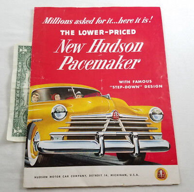 Vintage Original 1950 Hudson Pacemaker Sales Brochure Advertisement Auto Promo