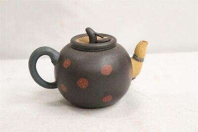 Chinese Yixing Poison Finned Stemmed Lidded Spotted Mushroom Pottery Teapot Sign