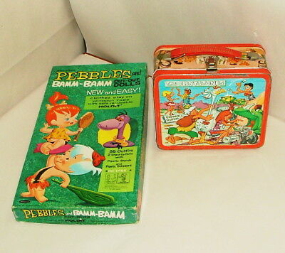 * 1970's Flintstones Tin Lunchbox And Cut Out Dolls In Original Box