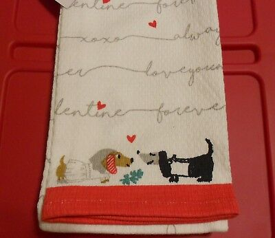 Set of 2 DACHSHUND WEINER DOGS ~LOVE YOU Forever WEDDING~ Kitchen Towels NEW