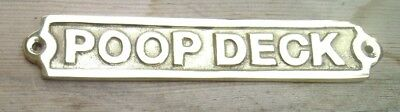 POOP DECK Sign Plaque Nautical Ship Boat Decor BRASS NEW