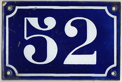 Old blue French house number 52 door gate plate plaque enamel metal sign c1900