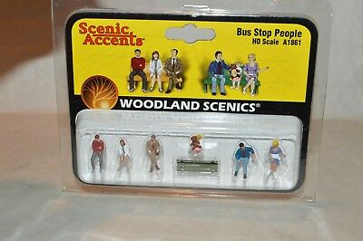 NEW Woodland Bus Stop People HO Train Figures A1861 FREE US SHIP