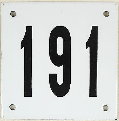 Old white French house number 191 door gate plate plaque enamel steel metal sign