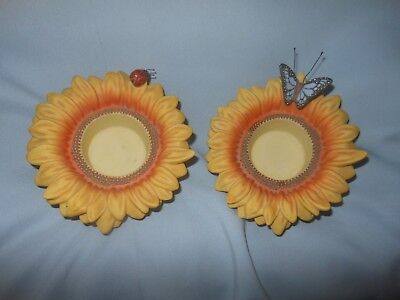 Partylite Sunflower Buddies Lady Bug Butterfly Set of 2 Tealight Candle Holders