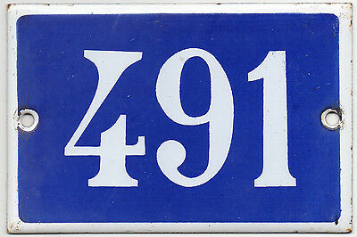 Old blue French house number 491 door gate plate plaque enamel steel metal sign