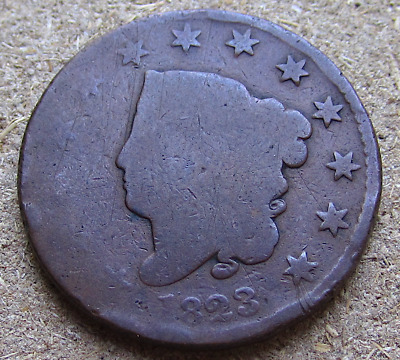 1823 Coronet Head Large Cent, Tough Key Date, Early American Copper, Full Date