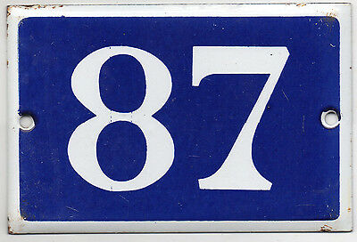Old blue French house number 87 door gate plate plaque enamel steel metal sign