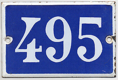 Old blue French house number 495 door gate plate plaque enamel steel metal sign