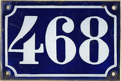 Old blue French house number 468 door gate plate plaque enamel metal sign c1900