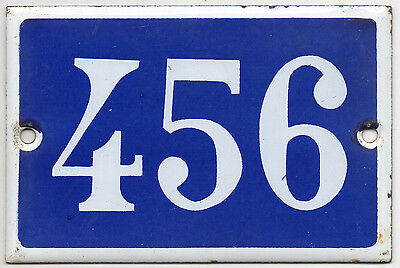 Old blue French house number 456 door gate plate plaque enamel steel metal sign
