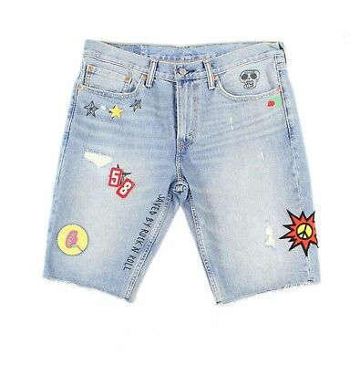 c8332271439 Levi's NEW Blue Mens Size 34 511 Slim Patch Saved By Rock Denim Shorts $79 #