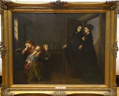 Large 19th Century Mother Children & Sisters Of Mercy William Powell Frith
