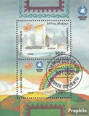 Kyrgyzstan block13 fine used / cancelled 1995 50 years UN