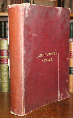 1906 The Harmsworth Atlas & Gazetteer 105 Double Page Maps Folio Country World