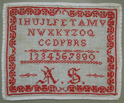 C. 1900 Antique Belgian Red Alphabet Sampler Letters Borders Needlework Siged As