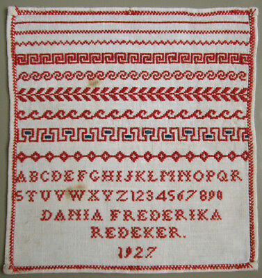 1927 Old Dutch Red Cross Stitch Sampler Borders Letters Dania Frederika Redeker