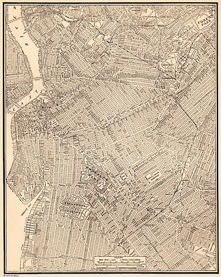1941 Antique BROOKLYN Map Black and White City Map of Brooklyn New York 5289