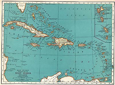 1945 Antique WEST INDIES Map Vintage CARIBBEAN Map Gallery Wall Art #5293