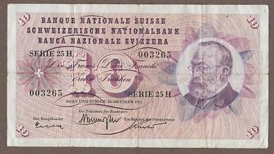 1961 Switzerland 10 Franken Note
