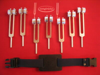 7 Chakras weighted Tuning forks + Pro Activator for Leg
