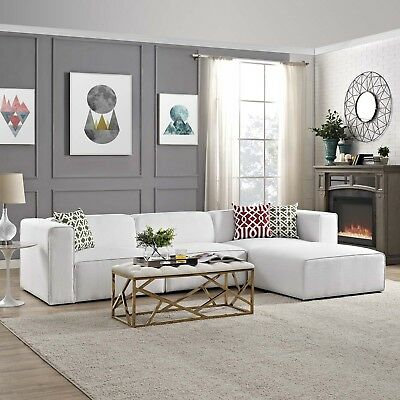 Modway Mingle Contemporary Modern 4-Piece Sectional Sofa Set in White