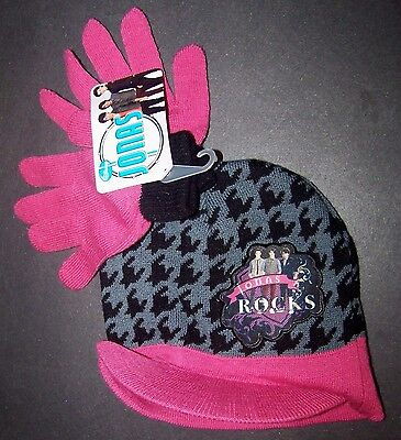 Jonas Brothers Hat & Gloves Set Mittens Black Pink NEW Girls One Size